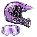 Typhoon Adult Dirt Bike Helmet & Goggles Combo ATV Motocross DOT, Purple w/Purple (Medium)