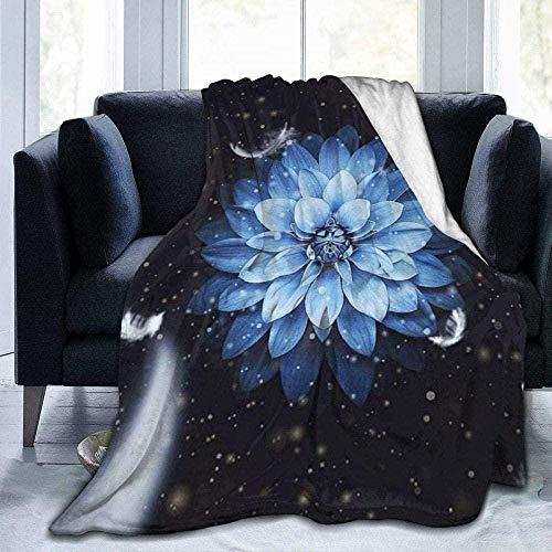 DWgatan Kuscheldecke Decke,Easy Care Super Warm Fleece Blanke Bed Throw,Blaue Blumen Bedruckt Bequeme Fleece-Decke Fit Couch BedSofa Chair-50 X40 (130 * 100cm)
