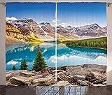 ABAKUHAUS Paisaje Cortinas, Moraine Lake Sunset, Sala de Estar Dormitorio Cortinas Ventana Set de Dos Paños, 280 x 245 cm, Multicolor