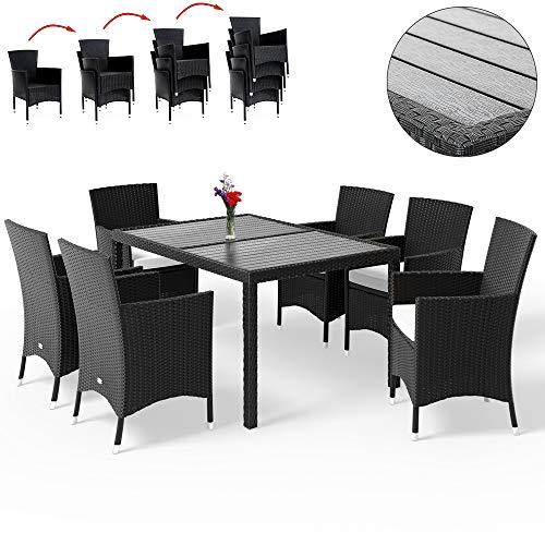 Deuba Poly Rattan Sitzgruppe Gartenmöbel WPC Gartentisch 6 Stapelbare Stühle Auflagen Sitzgarnitur Essgruppe Garten Set