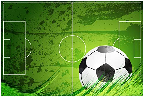 Wallario Garten-Poster Outdoor-Poster - Fußball-Feld klassisch grün mit Ball in Premiumqualität, Größe: 61 x 91,5 cm, für den Außeneinsatz geeignet