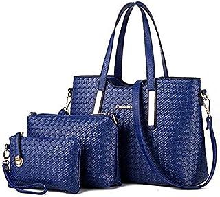 Leather Woven Hand Bag 3 Pcs Set