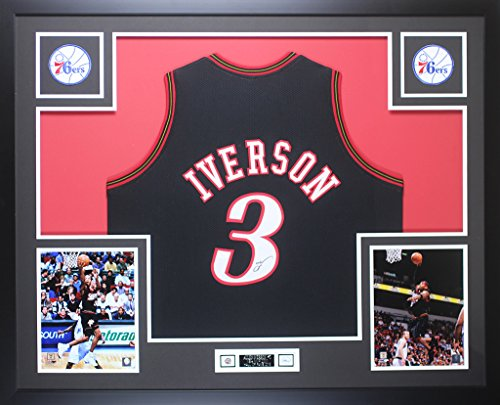 Allen Iverson Autographed Black Philadelphia 76ers Jersey - Beautifully Matted and Framed - Hand Signed By Allen Iverson and Certified by JSA - Includes Certificate of Authenticity