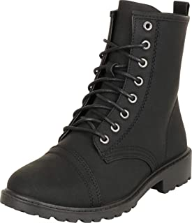 Cambridge Select Women's Classic Round Toe Lace-Up Chunky Lug Sole Low Heel Combat Boot