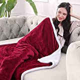 Electric Blanket Heated Throw Flannel & Sherpa Reversible Fast Heating Blanket 50' x 60', ETL Certification with 3 Heating Levels & 4 Hours Auto Off, Home Office Use & Machine Washable