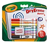 Crayola - Dry Erase Wipe Clean Washable Marker Pens, Pack of 8