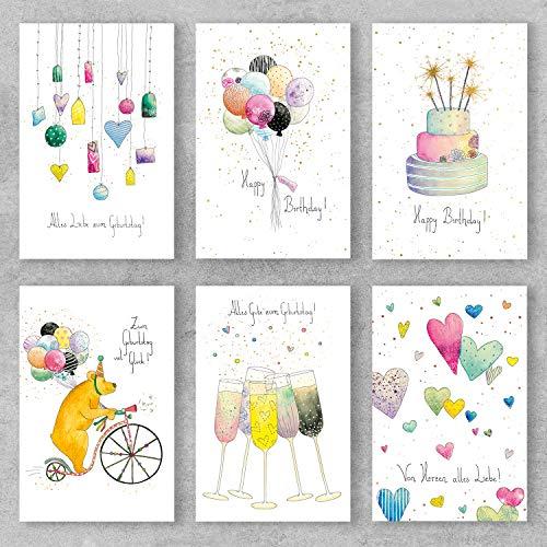 PremiumLine Geburtstagskarten Set 6 Stück inkl. Briefumschlag Glückwunschkarte Happy Birthday alles gute von Herzen 11,5 x 17,5 cm handgezeichnete umweltfreundliche Klappkarte aus Naturkarton
