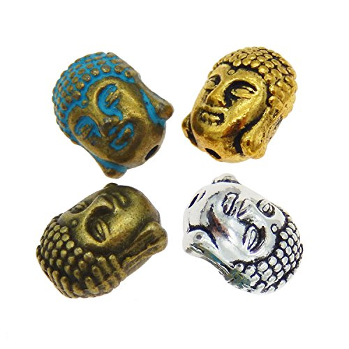 Julie Wang 40pcs Assorted Metal Buddha Head Bead Spacer Beads for Jewelry Making