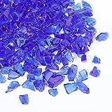Piedra de Grava de Vidrio de 1,5 LB Piedra Brillante de Grava de 3-6 mm Vidrio Templado Reflectante Lustre de Fuego Vidrio Triturado para Manualidades de Fogatas Jarrón Pecera (Azul Cobalto)