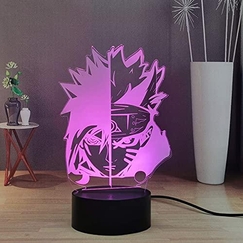 Anime 'Naruto' luz de noche LED 3D para niños, Kakashi Sasuke; luz de decoración de escritorio con control remoto, luz de noche de dormitorio de 16 colores, juguetes de regalo de cumpleaños y Navidad