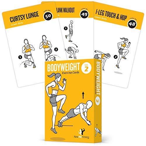 NewMe Fitness Workout Cards - Home Gym Bodyweight Exercise Card Deck for Men and Women - Personal Trainer Fitness Program w/ Cardio, Core, Glutes, Ab, and Personalized Workouts (Vol 2)