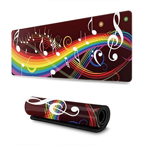 XCNGG Rain-Bow Music Note Alfombrillas para ratón Grandes para Juegos Alfombrilla para Teclado Alfombrilla para ratón con Base de Goma Antideslizante con Borde Cosido 11,8 'x 31,5'