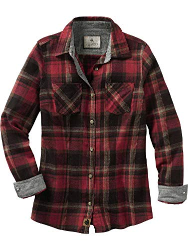 Legendary Whitetails Womens Cottage Escape Flannel Shirt, Forest Plaid, Medium
