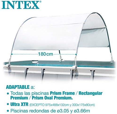 Intex 28054 - Toldo solar piscina, INTEX, para piscinas desmontables, largo 180 cm, con protección UV+50, tejido impermeable, Fácil de instalar, Metal Frame, XRT Frame 5