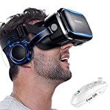 3D VR Goggle Virtual Reality Headset w/ Over Ear Headphone for iPhone 11 Pro X S R 10 8 7 6 Plus, Samsung Galaxy S10 E S9 S8 S7 S6 Edge A/J 10e 7 6+ 2 Note 5 4, LG BLU iOS & Android Smartphone, Black