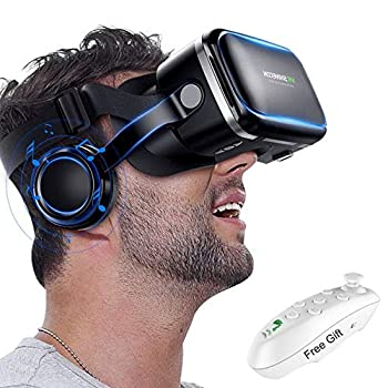 3D VR Goggle Virtual Reality Headset w/ Over Ear Headphone for iPhone 11 Pro X S R 10 8 7 6 Plus Samsung Galaxy S10 E S9 S8 S7 S6 Edge A/J 10e 7 6+ 2 Note 5 4 LG BLU iOS & Android Smartphone Black