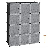 "C&AHOME Cube Storage Organizer, 12-Cube Plastic Closet Cabinet, Modular Book Shelf Organizer Units, Storage Shelving with Doors Ideal for Bedroom Living Room Office 36.6""L x 12.4""W x 48.4""H Black"