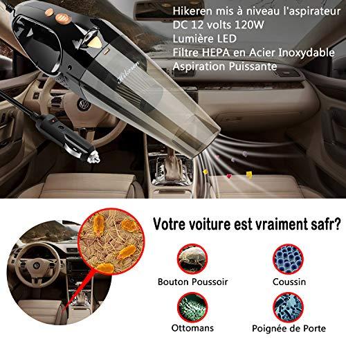 Hikeren Aspirateur Voiture, Aspirateur à Mains Portatif Puissant Voiture 100W Aspirateur Portable...