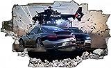 Polizei Auto Hubschrauber Verfolgungsjagd Wandtattoo Wandsticker Wandaufkleber C0545 Größe 70 cm x 110 cm