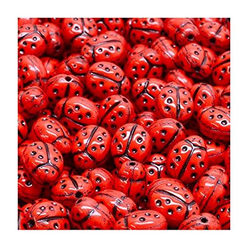 Perlas de cristal checo presionadas, mariquita, naranja/rojo, 7 x 5 mm, 6 unidades