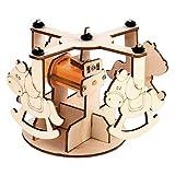IPOTCH Carrusel 3D de Madera Ensamblado Bloque de Construcción Puzzle 3D Juguete para Desarrollo de Coordinación de Mano Ojos de Niños