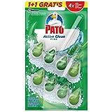 PATO - Active Clean colgador para inodoro, frescor intenso, perfuma y desinfecta, aroma Pino, 2...