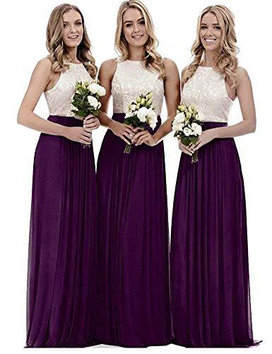 yinyyinhs Damen Oben Spitze Chiffon Brautjungfernkleider Eine Linie Lange Abendkleider Größe 54 Pflaume