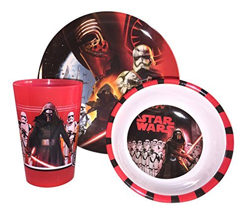 Star Wars 3-piece Mealtime Set, Includes Plastic Plate, Bowl and Cup Featuring SW7 Kylo Ren & Stormtroopers