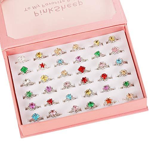 36個 かわいいジュエリー指輪セット おもちゃ 女の子リング かわいい指輪 サイズ調節でき 収納ボックス付き 宝石リング 子供用 女の子 縁日 景品 お祭り ハロウィン クリスマス ファッションリング 混合 指輪セット (36-宝石)
