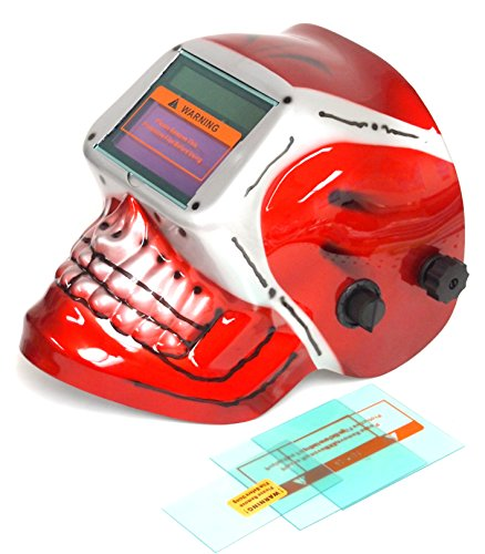 Solar Auto Darkening Welding Helmet, Red-Skull design