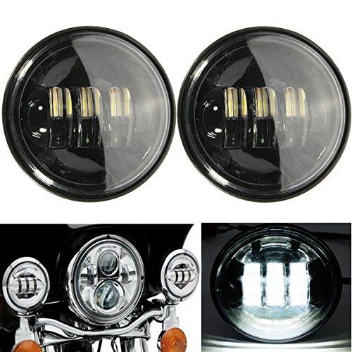 Alamor 2 Pcs 10-16 V 4.5 Pouces 6000K Led Spot Brouillard Passant Phare Noir Pour Harley Moto