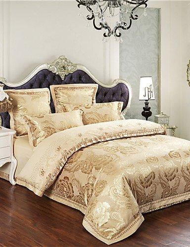 GAOHAIFQ®,Venta flash de ropa de cama de oro de la hoja de cama de flores establecer cálidos y suaves colcha regalos homenaje rey 4pcs edredón de , queen