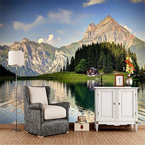 Sucsaistat Tapete Wandbild Wandaufkleber See Landschaft Alpen Natur Foto Wohnzimmer TV Sofa Wand Schlafzimmer Tapete Dekoration, 250 * 175 cm