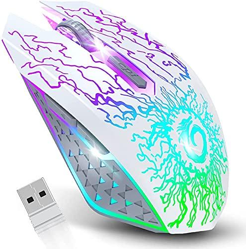 VersiónTECH. Ratón inalámbrico para Juegos, ratón de Ordenador Recargable, Clic silencioso, Nano Receptor USB de 2,4 G, 3 Niveles de dpi para PC Gamer, portátil, Escritorio, Chromebook Mac,Blanco