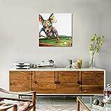 Pintado a Mano Perro Jugando Billar Pintura al óleo para Hogar Dormitorio Decoración Pintura Acrilica Lienzo Pared Arte Cuadro,Withframe,50x50cm