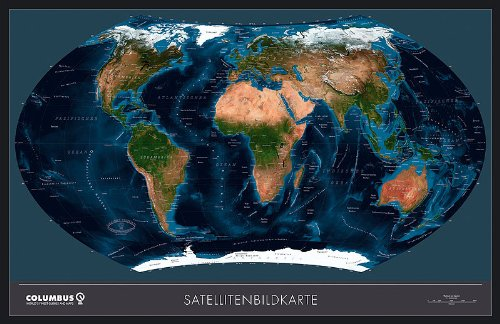 Columbus Satellitenbild-Weltkarte politisch, TING-fähig, laminiert, beleistet