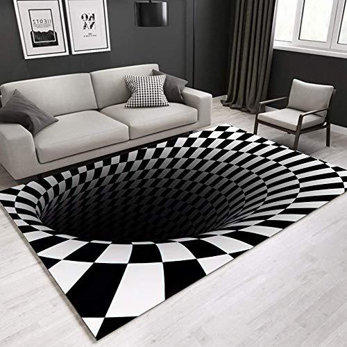 PICTURESQUE Alfombra sin Fondo Alfombra de Ilusión 3D Ilusión Óptica Alfombra Antideslizante a Cuadros en Blanco y Negro Sala de Estar Dormitorio