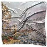 Pañuelo de paseos de paseos con pintura al óleo, poliéster, bolsillo cuadrado, mulipurpose de seda, impresión delicada