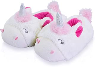 LA PLAGE Girls Unicorn Slippers Comfortable Non-Skid Cozy Soft Pug House Slippers for Toddler Girl