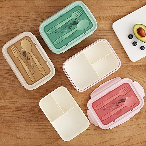 TYJKL Juego de Cubiertos Cajas de Almuerzo Caja de Almuerzo Rectangular Bento Box Japanese Adult Split Snack Bnack Caja de Almacenamiento de plástico Que se Puede Usar en Cualquier Lugar
