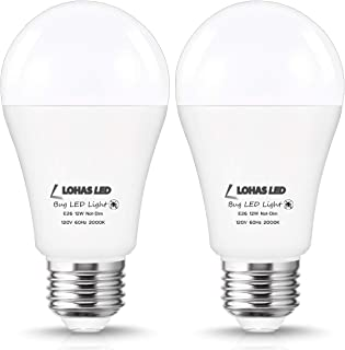 LOHAS A19 Yellow Bug Light Bulbs 100Watt Equivalent, LED 12W Bug Yellow Light 1000 Lumen Porch Bug Light, E26 Base Garden Porch Light, Not-Dimmable, 2Pack