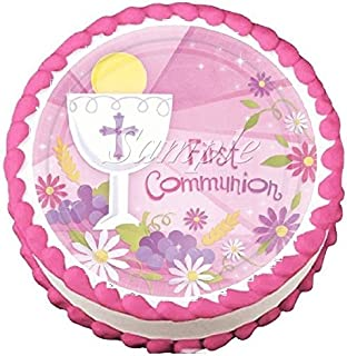 First Communion Pink Edible Frosting Sheet Cake Topper - 7.5