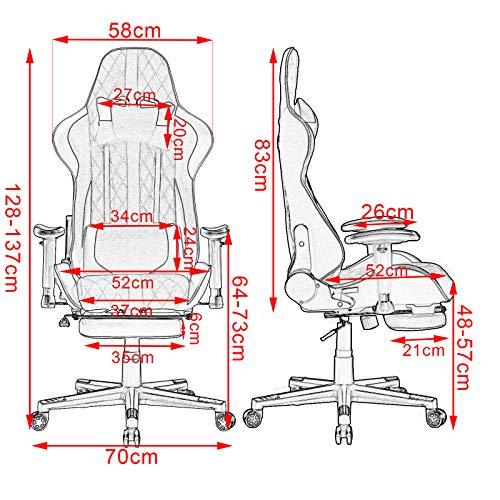 WOLTU BS41rt Sedia Gaming di Tessuto Poltrona da Ufficio Ergonomica Girevole con Schienale Reclinabile e Poggiapiedi Retrattile Rosso