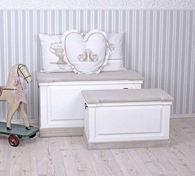PALAZZO INT Truhen Set Zwei Stück Truhe Landhausstil Holztruhen Sitzhocker Weiss