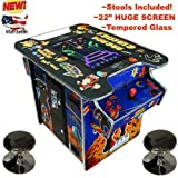 Abvideo Exclusive Huge 22 Inch Screen with Adjustable Stools Video Game Machine Cocktail Arcade Machine 60 of The top Classic Games Commercial Grade!