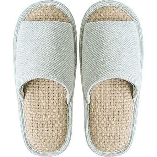 B & H-ERX Zapatillas de algodón de lino de color sólido sandalias de bambú para el hogar hombres mujeres interior pareja antideslizante sandalias Flip Flop-Green_40-41 (275mm)