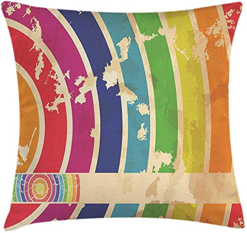 Vintage Rainbow Throw Pillow Cushion Cover, Curvy lijnen in verschillende kleuren en poorten Grunge Look Old Festival Event, Decoratieve Square Accent Pillow Case, 18 x 18 inch, multicolor