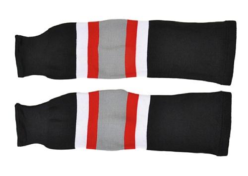 SCHANNER - Erwachsenen Hockeystutzen NHL Senior I Schienbeinschutz I Stutzen für Hockeyspieler I Eishockey-Stutzen I ideale Passform I 100% Polyester - Schwarz/Weiß/Rot/Grau