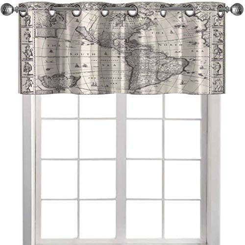 YUAZHOQI Thermal Insulated Window Curtain Valance Wanderlust Decor Image of Antique Map America in s World in Med 54' W x 18' L Decor for Kitchen,brathroom,Living Room(1 Panel)