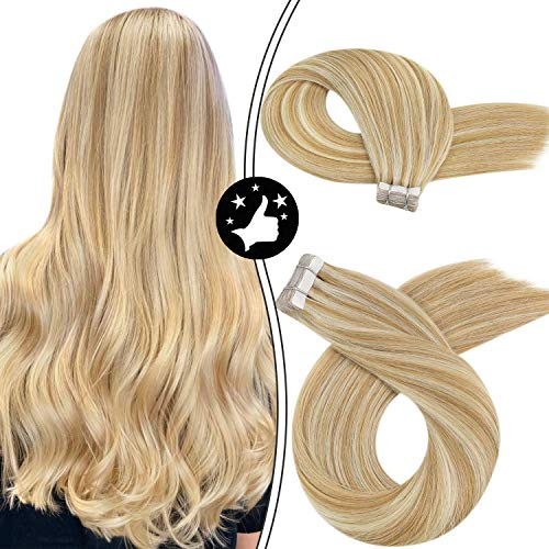 Extension Adhesive Cheveux Naturel Blond,Moresoo Bande Adhesive Extension 14 Pouces Extension Cheveux Épais 50G/20Pcs Extension Adhesive Cheveux Humai